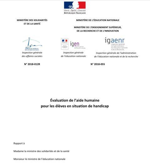 rapport Évaluation de laide humaine pour les élèves en situation de handicap